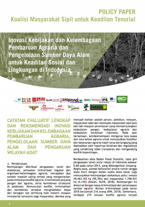 Policy Paper Koalisi Masyarakat Sipil untuk Keadilan Tenurial